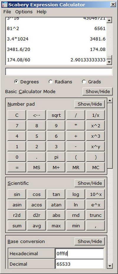Scabery Expression Calculator