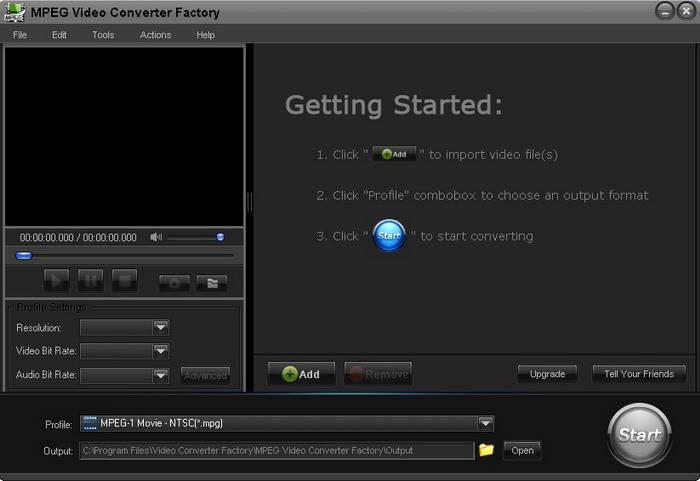 Free MPEG Video Converter Factory