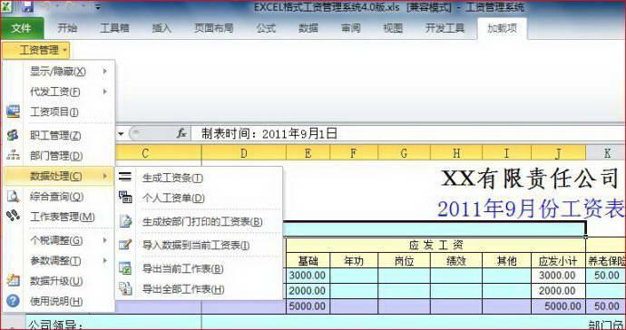 excel格式工资管理系统