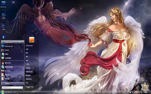 主题之家天使之爱桌面背景主题