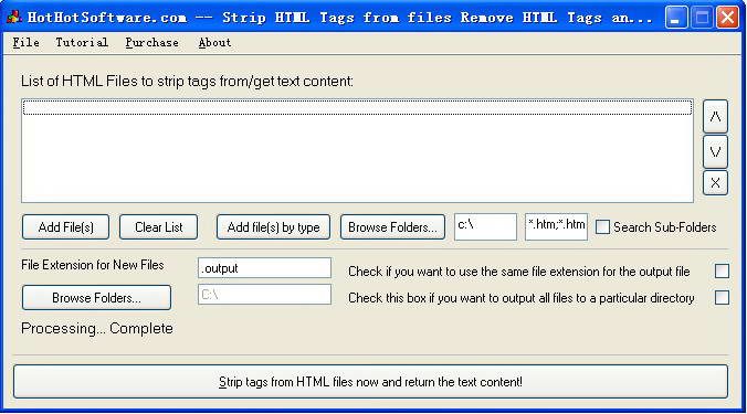 Strip HTML Tags from files