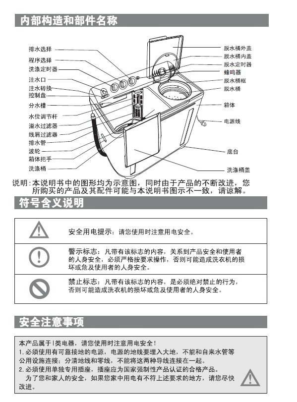 海尔双桶洗衣机xpb-287s使用说明书