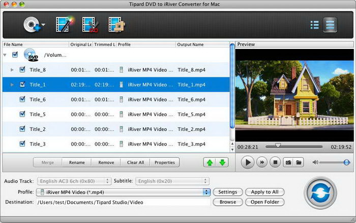 Tipard DVD to iRiver Converter for Mac