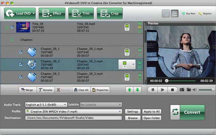 4Videosoft DVD to Creative Zen Converter for Mac