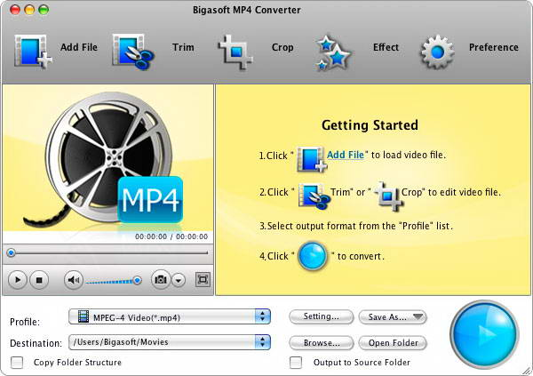 Bigasoft MP4 Converter For Mac