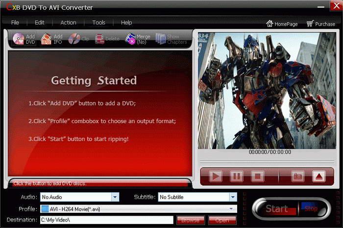 CXBSoft DVD To AVI Converter