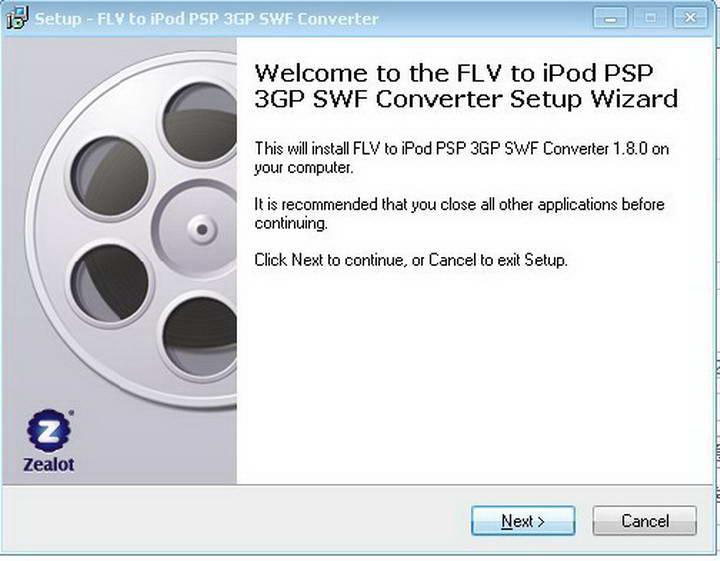 zealotsoft FLV to iPod PSP 3GP FLV SWF Converter