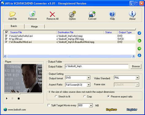 Boilsoft AVI to VCD SVCD DVD Converter