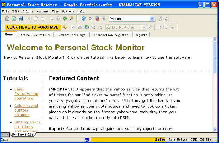 Personal Stock Monitor standard