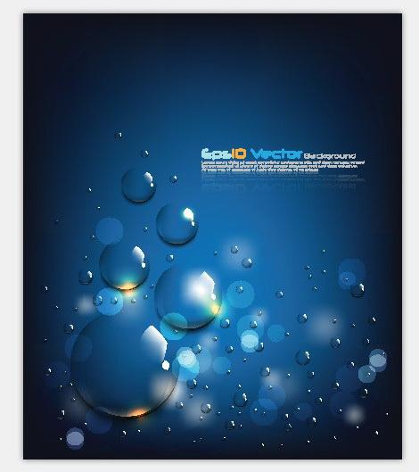 蓝色水珠背景矢量图