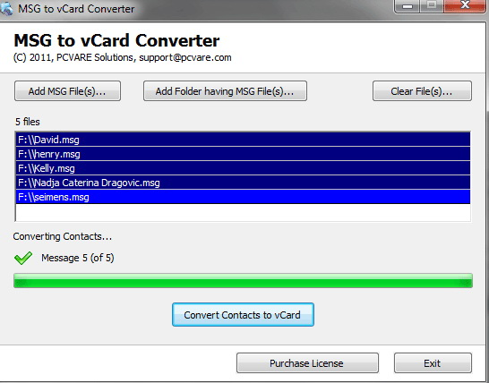 Convert Contact MSG to VCF