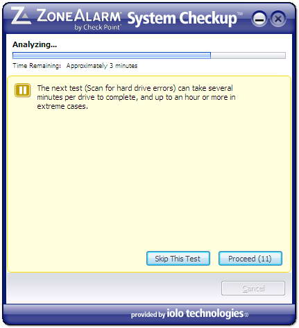 ZoneAlarm system checkup