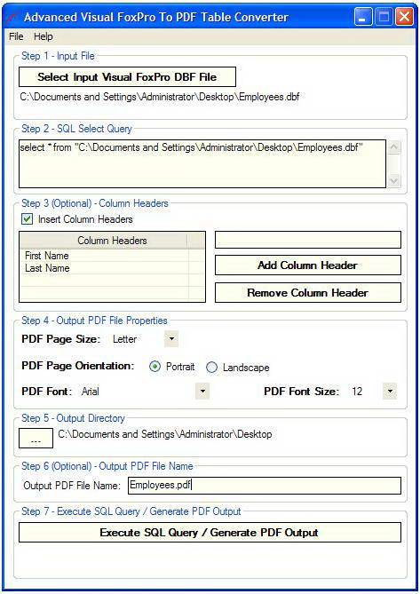 Advanced Visual Fox Pro To PDF Table Converter