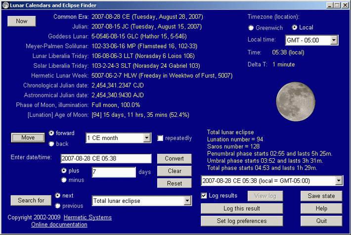 Lunar Calendars and Eclipse Finder