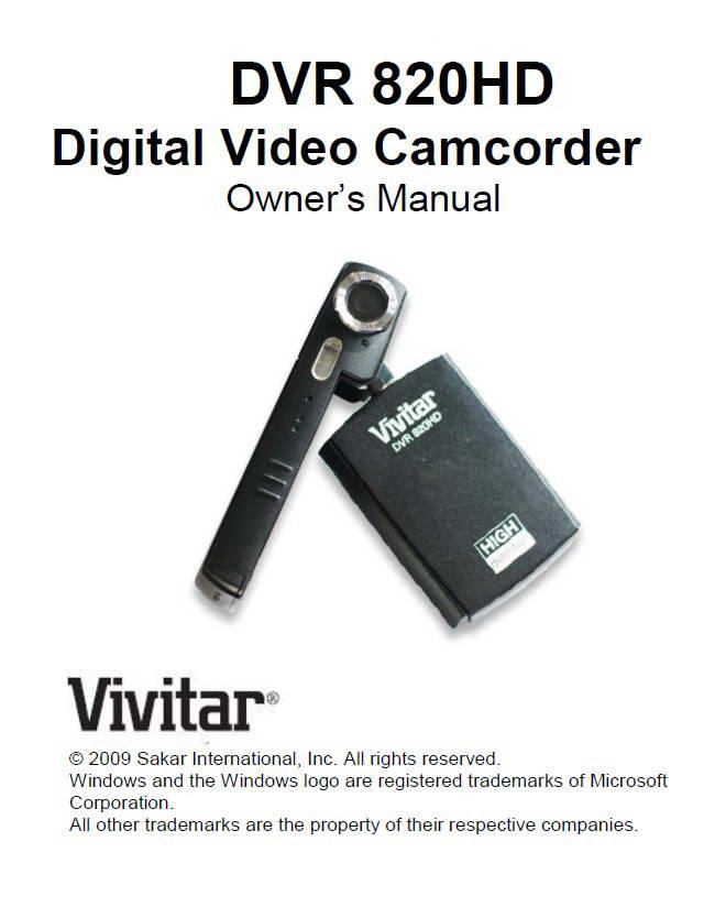 Vivitar威达DVR 820HD数码摄像机说明书