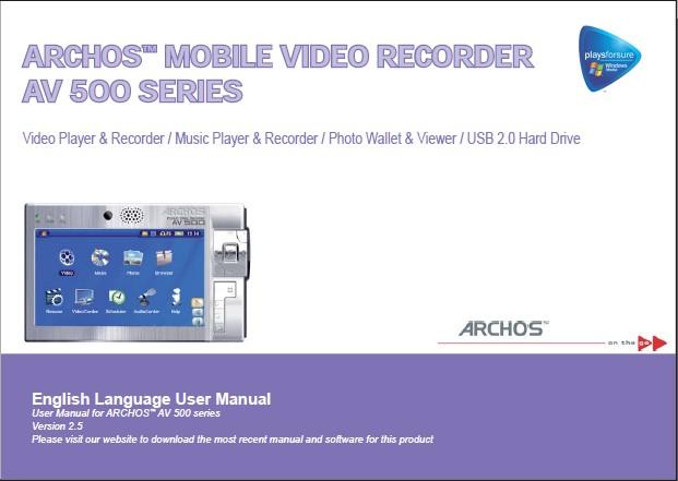 Archos爱可视 AV 500多媒体播放器 英文版说明书