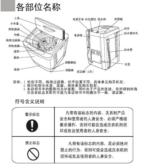 海尔小神功(xqb45-68抗菌型b)说明书