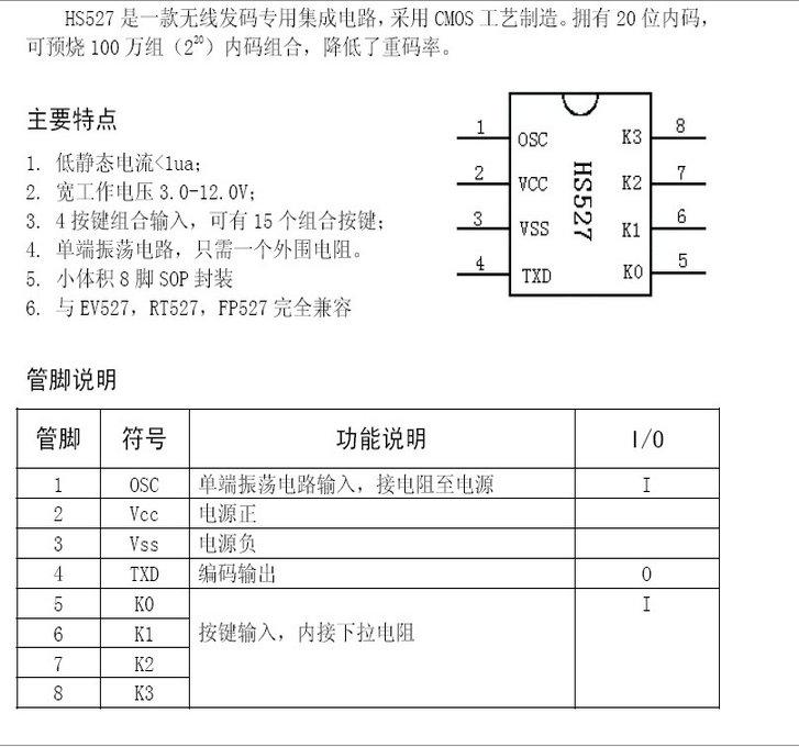 华芯hs1527遥控编码电路说明书