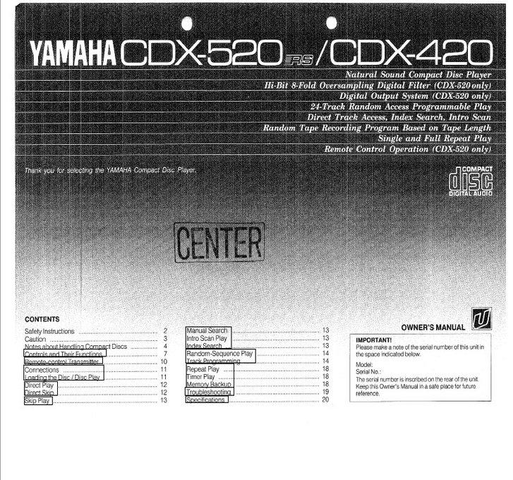 雅马哈CDX-420英文说明书