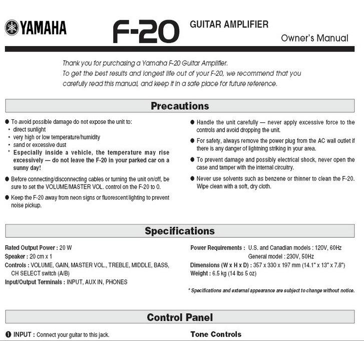 雅马哈f-20英文说明书图片