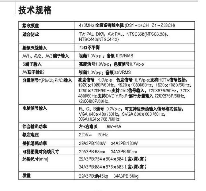 乐华29a3pb彩电使用说明书