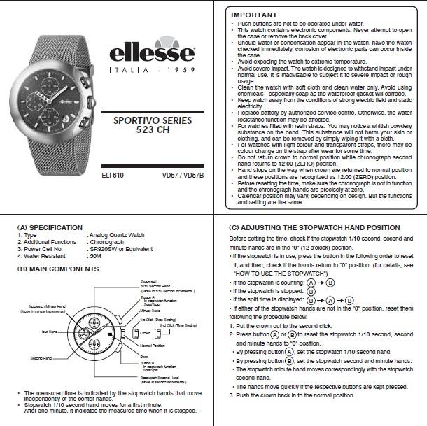 艾力士 523 CH型手表使用说明书