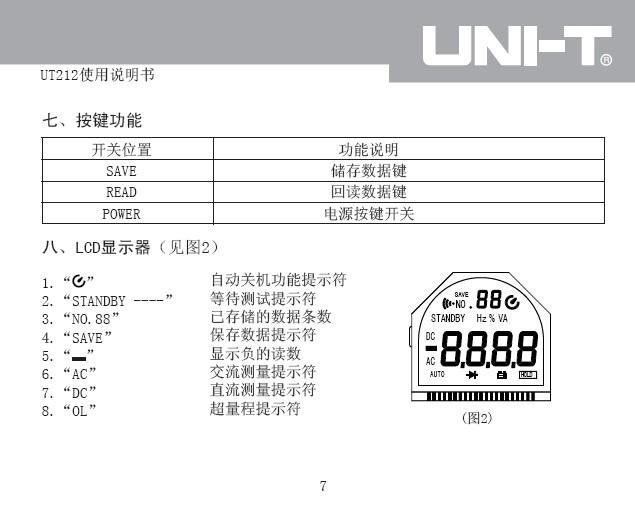 优利德ut211数字智能型钳式万用表使用说明书