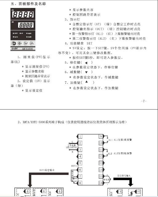 欣灵xmtf-5000系列智能温度控制仪说明书