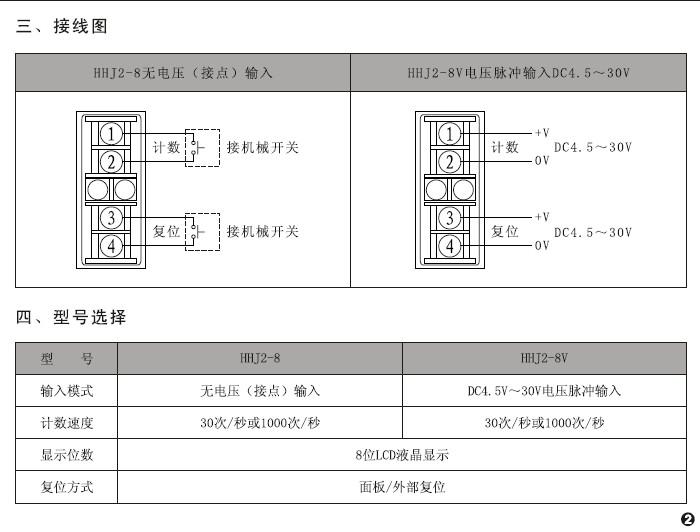 欣灵HHJ2-8V累计计数器(电压型)说明书