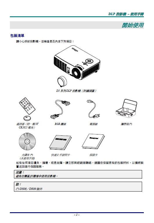 丽讯 D510投影机 使用说明书