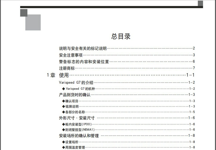 安川CIMR-G7A2075型变频器说明书