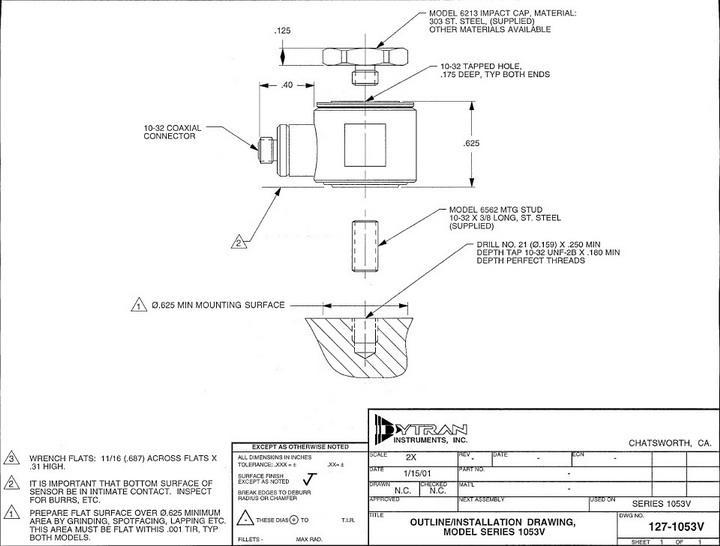 dytran1053v1压电式力传感器产品说明书
