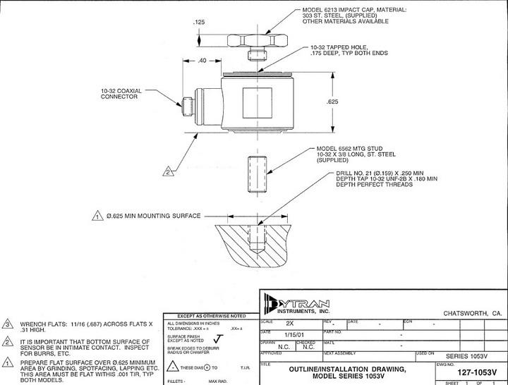 dytran1053v4压电式力传感器产品说明书
