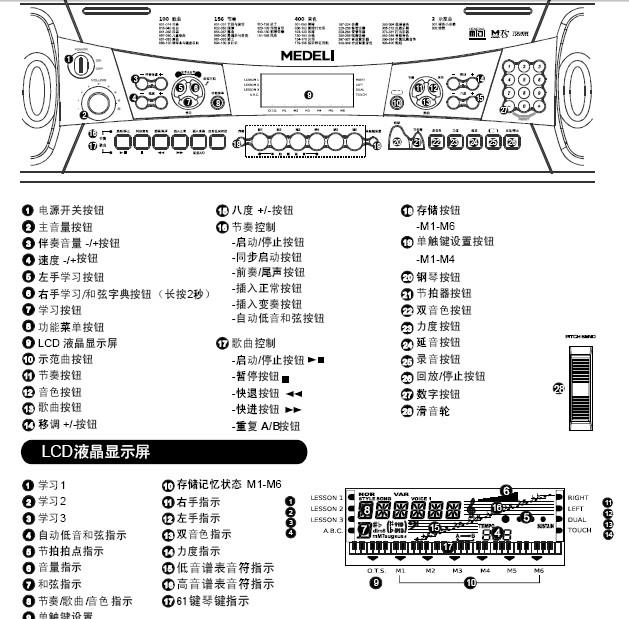 美得理m30电子琴使用说明书