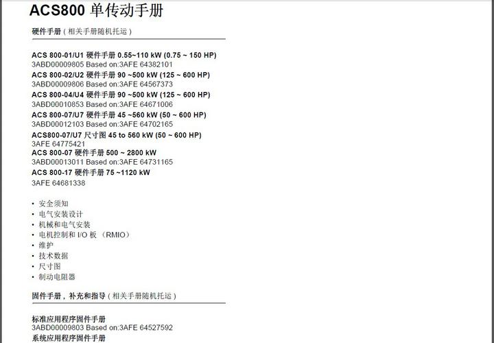 ABB ACS800-01-0009-5变频器说明书