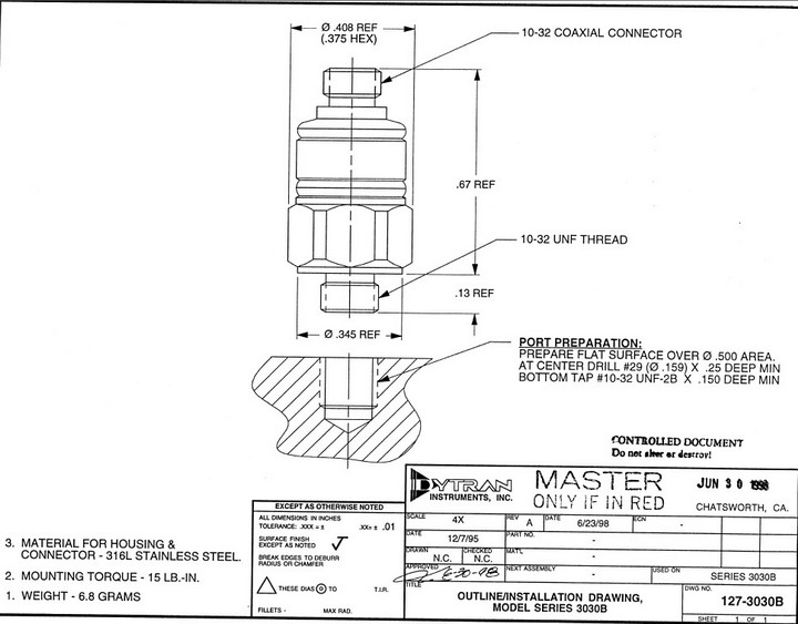 Dytran 3030B4通用型加速度传感器 产品说明书