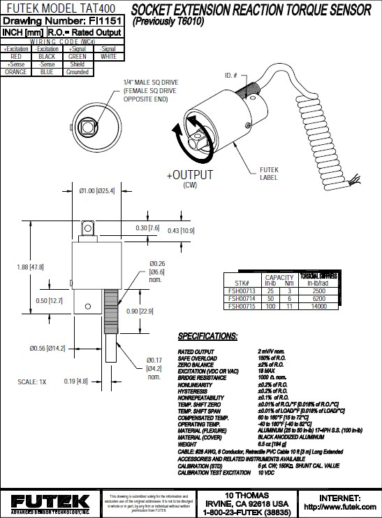 Futek TAT400反作用力型(静态)扭矩传感器 产品说明书