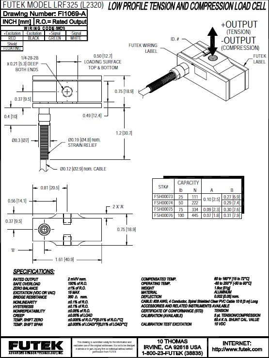 Futek LRF325应变式力传感器(超薄型) 产品说明书