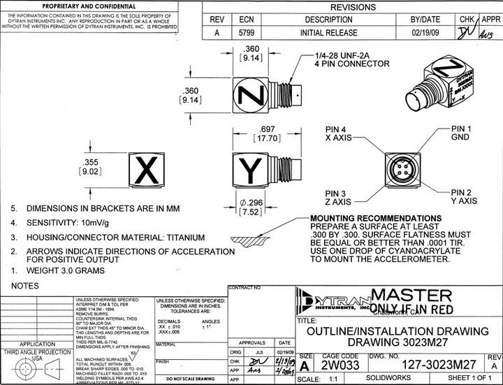 dytran3023m27三轴型加速度传感器产品说明书