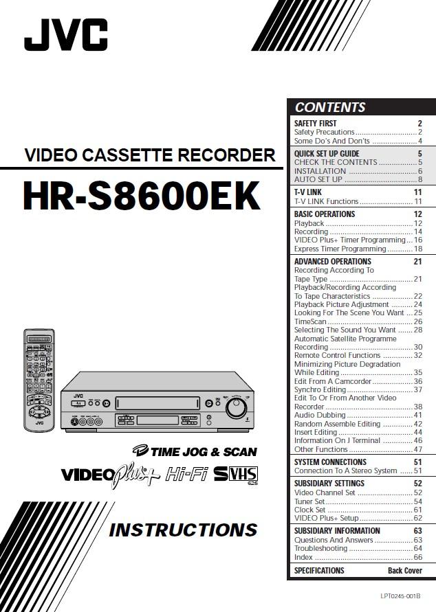 JVC HR-S8600EK盒式磁带录像机 说明书