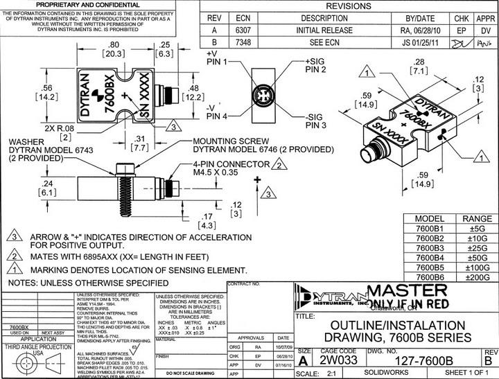 dytran7600b2电容型三轴加速度传感器产品说明书官