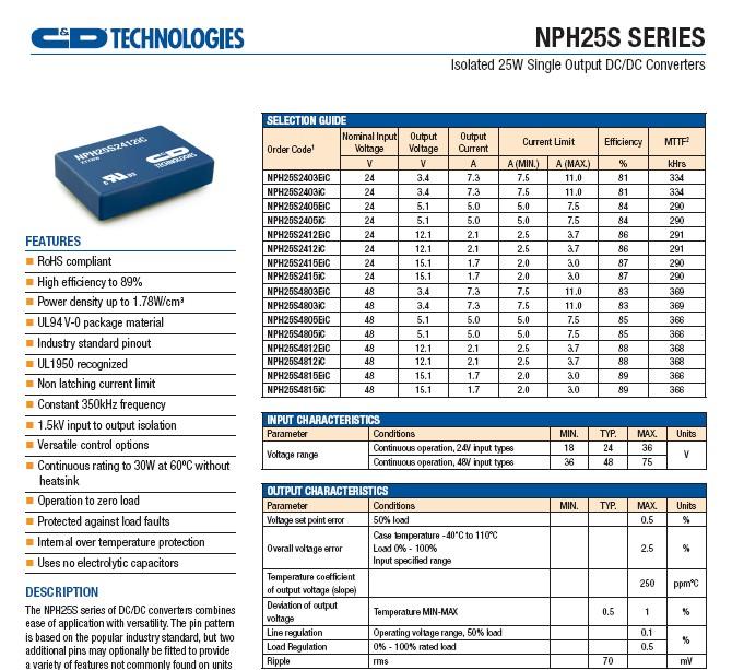 CD西恩迪NPH25S2405I模块电源说明书