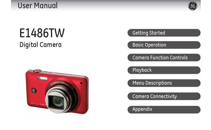 GE通用 E1486TW数码相机 说明书