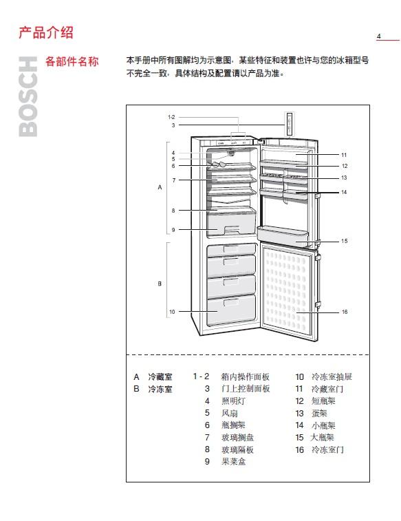 博世bcd-286冰箱使用说明书