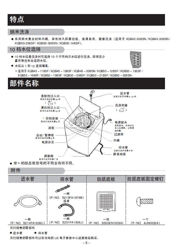 lgxqb45-118sf洗衣机使用说明书