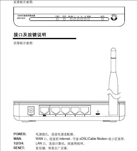 水星150M无线宽带路由器MW150R型使用说明书
