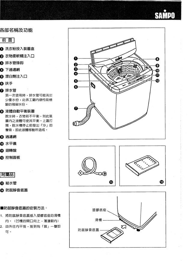 声宝 ES-106SBR型洗衣机 说明书