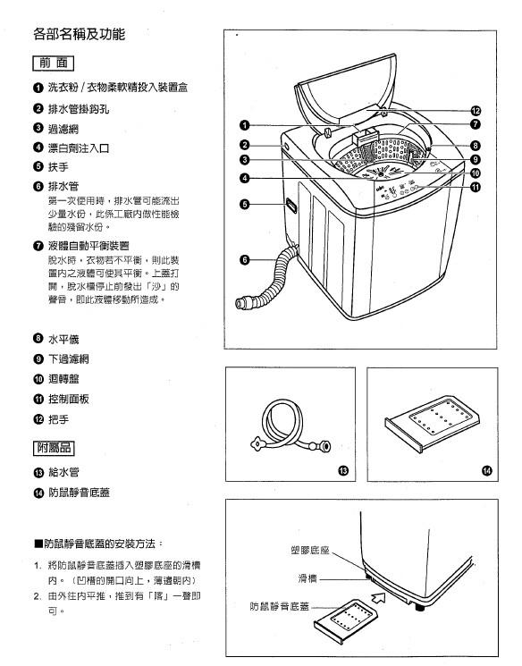 声宝 ES-147AB型洗衣机 说明书