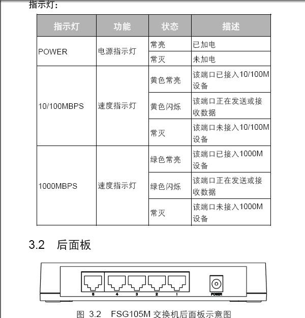 迅捷FSG105M千兆交换机使用说明书