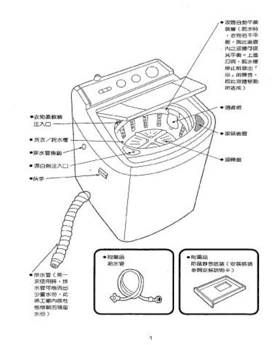 声宝es-gida85型洗衣机说明书
